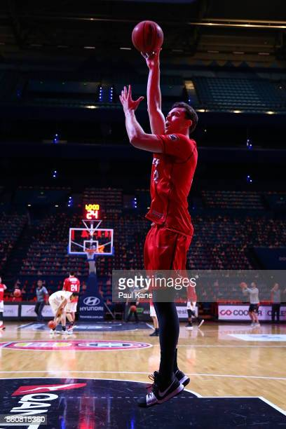 Angus Brandt of the Wildcats warms up before the round two NBL match between the Perth Wildcats and the Illawarra Hawks at Perth Arena on October 13...