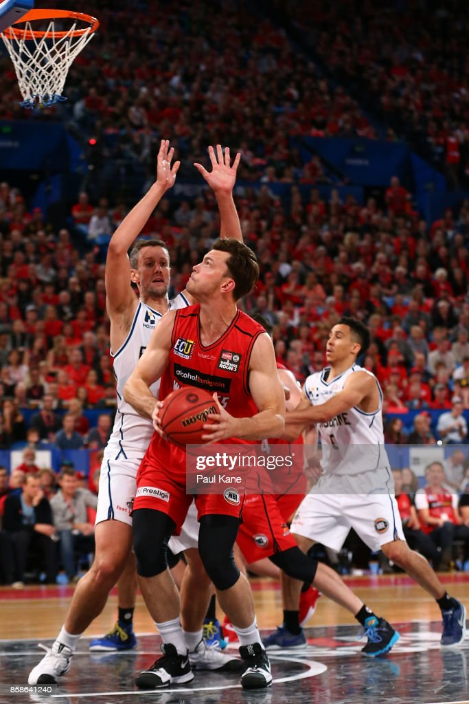 Angus Brandt of the Wildcats works the basket during the round one NBL match between the Perth Wildcats and the Brisbane Bullets at Perth Arena on October 7, 2017 in Perth, Australia.