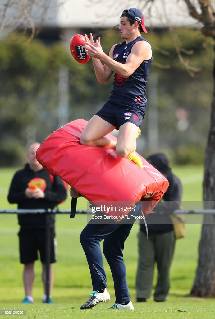 Angus Brayshaw of the Demons amarks the ball during a Melbourne Demons AFL training session at Gosch's Paddock on August 24, 2017 in Melbourne, Australia.