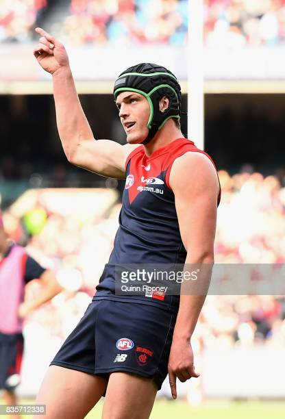 Angus Brayshaw of the Demons celebrates kicking a goal during the round 22 AFL match between the Melbourne Demons and the Brisbane Lions at Melbourne...