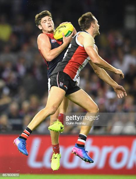 Angus Brayshaw of the Demons marks during the round one AFL match between the St Kilda Saints and the Melbourne Demons at Etihad Stadium on March 25...