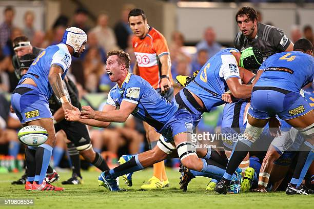 Angus Cottrell of the Force passes the ball during the round seven Super Rugby match between the Force and the Crusaders at nib Stadium on April 8...