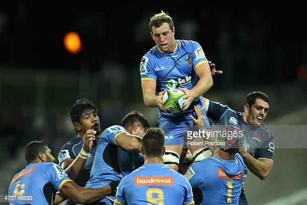 Angus Cottrell of the Force takes a high ball during the round 13 Super Rugby match between the Force and the Waratahs at nib Stadium on May 9 2015...