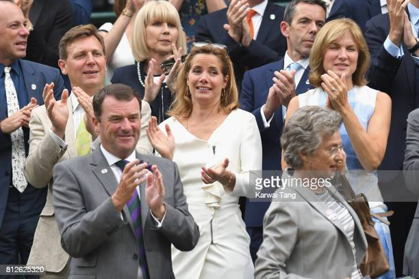 Angus Forbes Darcey Bussell and Fiona Bruce attend day eight of the Wimbledon Tennis Championships at the All England Lawn Tennis and Croquet Club on...