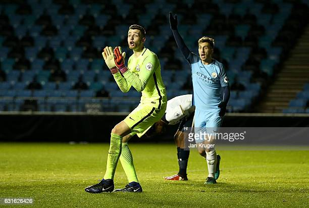 Angus Gunn of Manchester City pleads with the assistant referee for an offside call after the equalizer by Shilow Tracey of Tottenham Hotspur during...
