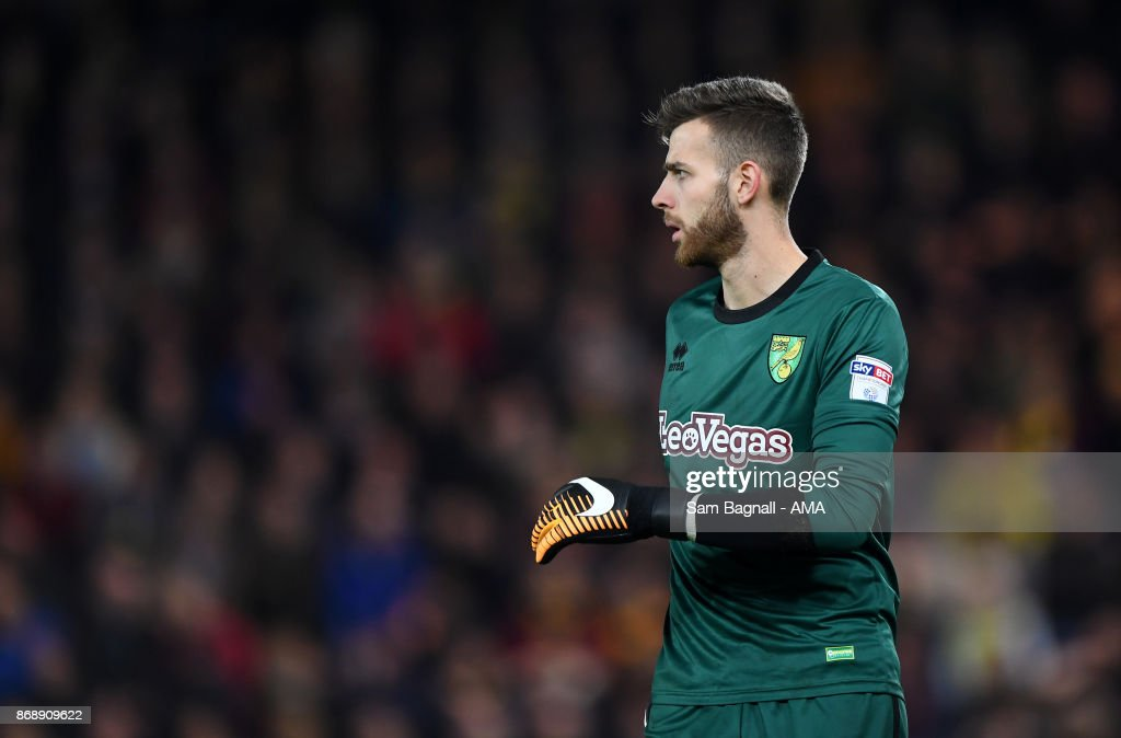 Angus Gunn of Norwich City during the Sky Bet Championship match between Norwich City and Wolverhampton at Carrow Road on October 31, 2017 in Norwich, England.