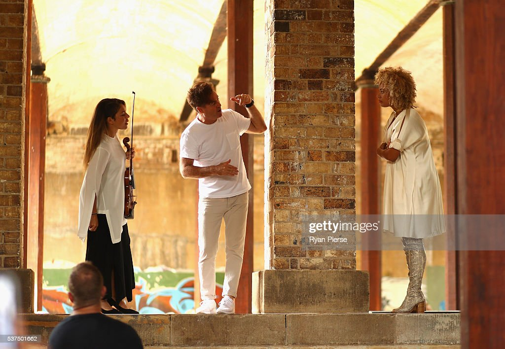 Angus McDonald and Connie Mitchell of Sneaky Sound System look on before performing during the Kitz show during MercedesBenz Fashion Week Australia...