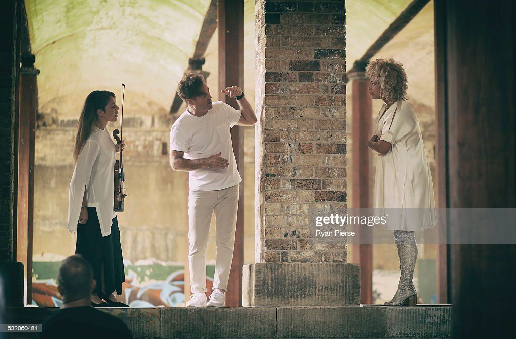 Angus McDonald and Connie Mitchell of Sneaky Sound System talk backstage before performing during the Kitz show during MercedesBenz Fashion Week...