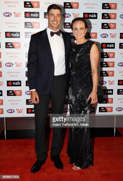 Angus Parry and Daisy Pearce of the Demons arrive during the The W Awards at the Peninsula on March 28 2017 in Melbourne Australia