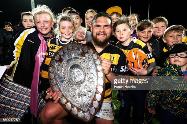 Angus Ta'avao of Taranaki poses with young fans after defending the Ranfurly Shield during the round nine Mitre 10 Cup and Ranfurly Shield match...