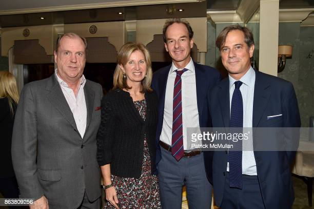 Angus Wilkie Sarah O'Hagan Peter O'Hagan and Len Morgan attend the launch of Second Bloom Cathy Graham's Art of the Table hosted by Joanna Coles and...