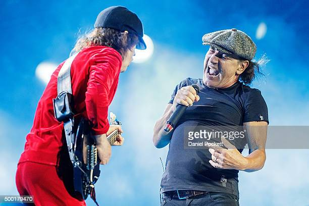 Angus Young and Brian Johnson AC/DC perform during their 'Rock or Bust' World Tour at Etihad Stadium on December 6 2015 in Melbourne Australia