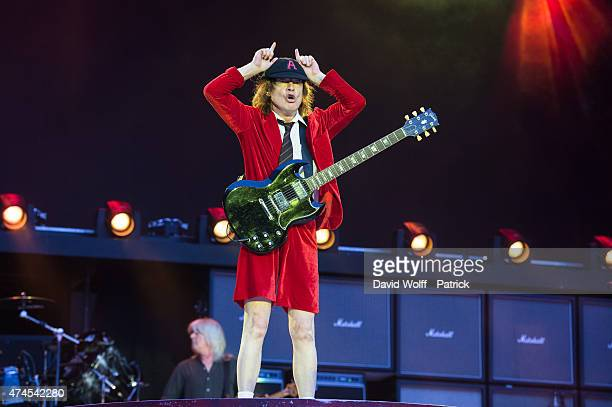Angus Young from ACDC performs at Stade de France on May 23 2015 in Paris France