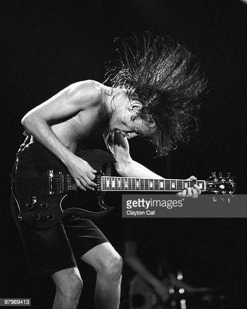 Angus Young from AC/DC performs live on stage with a Gibson SG guitar at the Cow Palace in San Francisco on February 16 1982