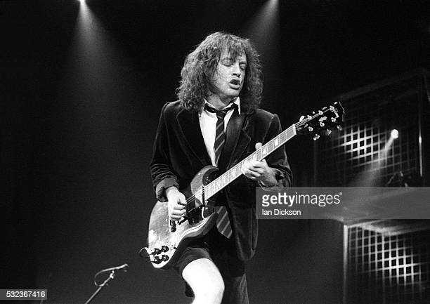 Angus Young of AC/DC performing on stage at Wembley Arena London United Kingdom 1991