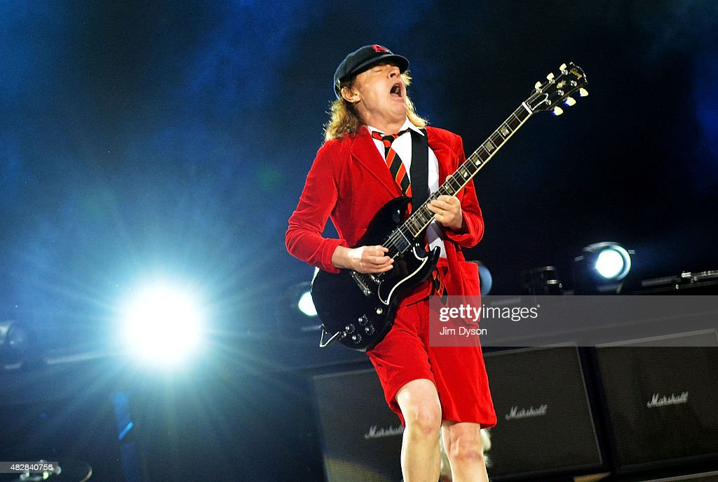 Angus Young of AC/DC performs live on stage during the 'Rock or Bust' World Tour, at Wembley Stadium on July 4, 2015 in London, United Kingdom.