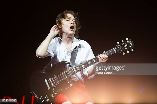 Angus Young of AC/DC performs on the opening night of Rock or Bust Tour at the Passeio Maritimo De Alges on May 7 2016 in Lisbon Portugal
