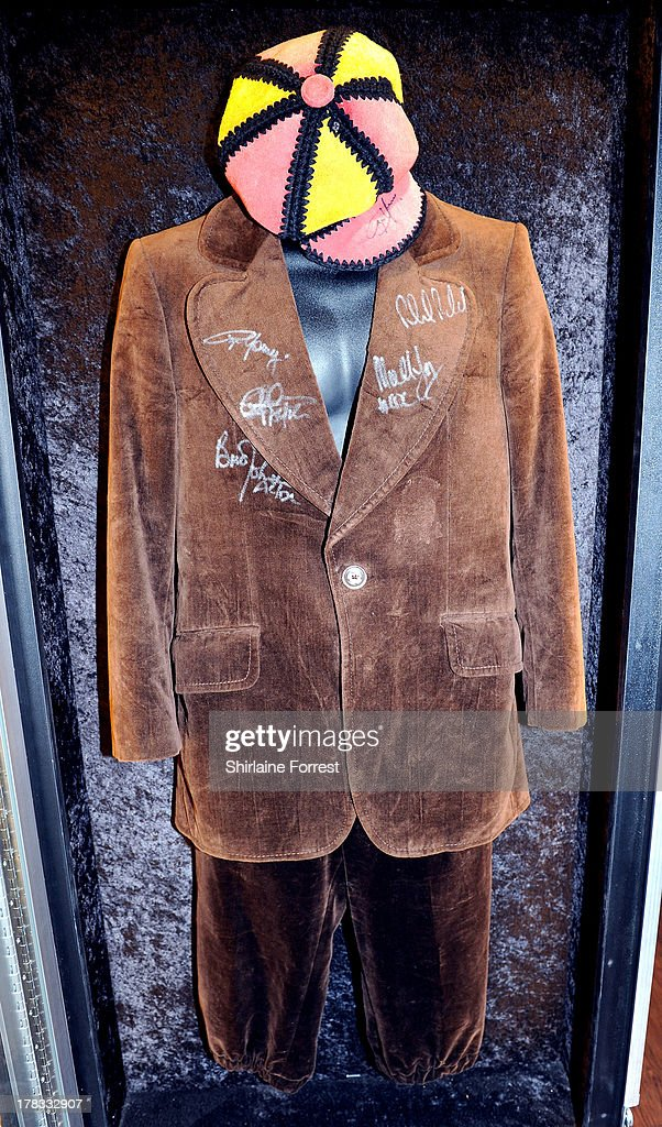 Angus Young of AC/DC's signed stage outfit is displayed as part of Hard Rock Cafe's Hard Rock Couture exhibition on August 29, 2013 in Manchester, England.