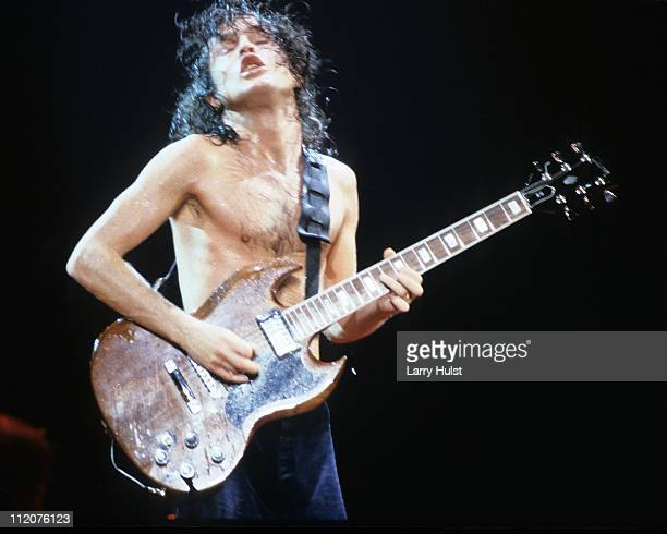 Angus Young with AC/DC are playing at Cal Expo in Sacramento California on June 19 1988 Photo by Larry Hulst/Michael Ochs Archives/Getty Images0
