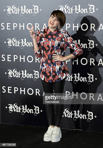Angy Fernandez attends the launch of the 'Kat Von D Beauty' make up collection at Callao Cinema on October 7 2015 in Madrid Spain