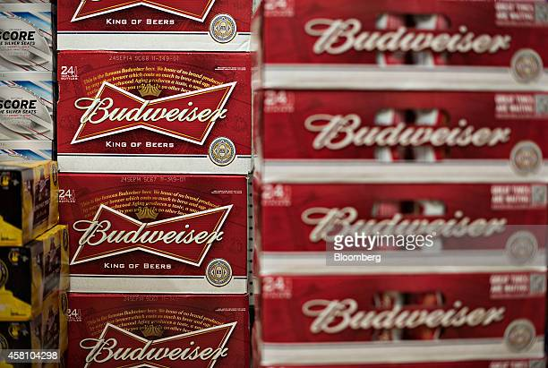 AnheuserBusch Budweiser brand beer sits on display for sale in a supermarket in Princeton Illinois US on Tuesday Oct 28 2014 AnheuserBusch Inbev SA...