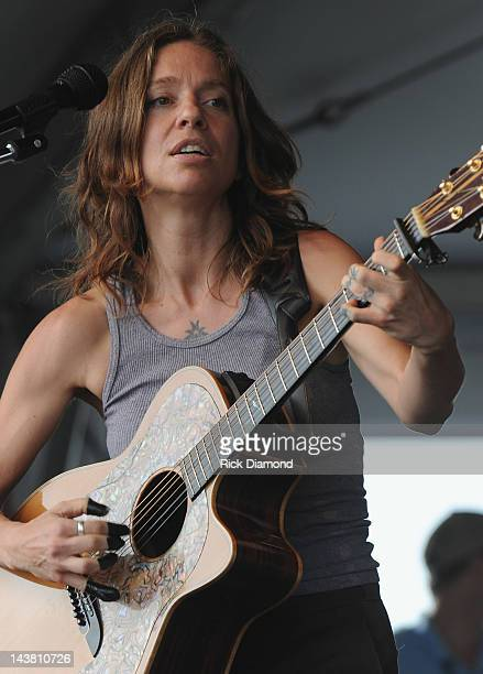 Ani DiFranco performs during the 2012 New Orleans Jazz Heritage Festival Day 4 at the Fair Grounds Race Course on May 3 2012 in New Orleans Louisiana