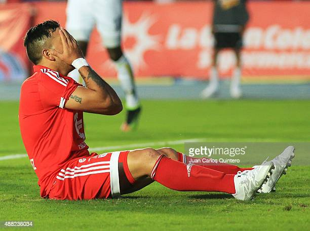 Anibal Hernandez of America de Cali reacts during a match between America de Cali and Depor FC as part of 10th round of second leg of Torneo Aguila...