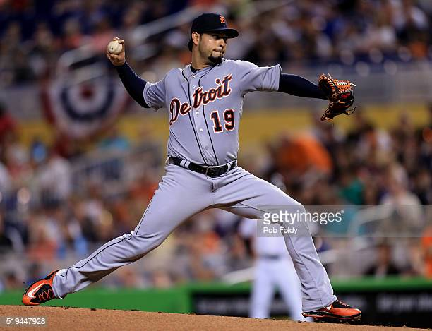 Anibal Sanchez of the Detroit Tigers delivers a pitch during the first inning of the game against the Miami Marlins at Marlins Park on April 6 2016...