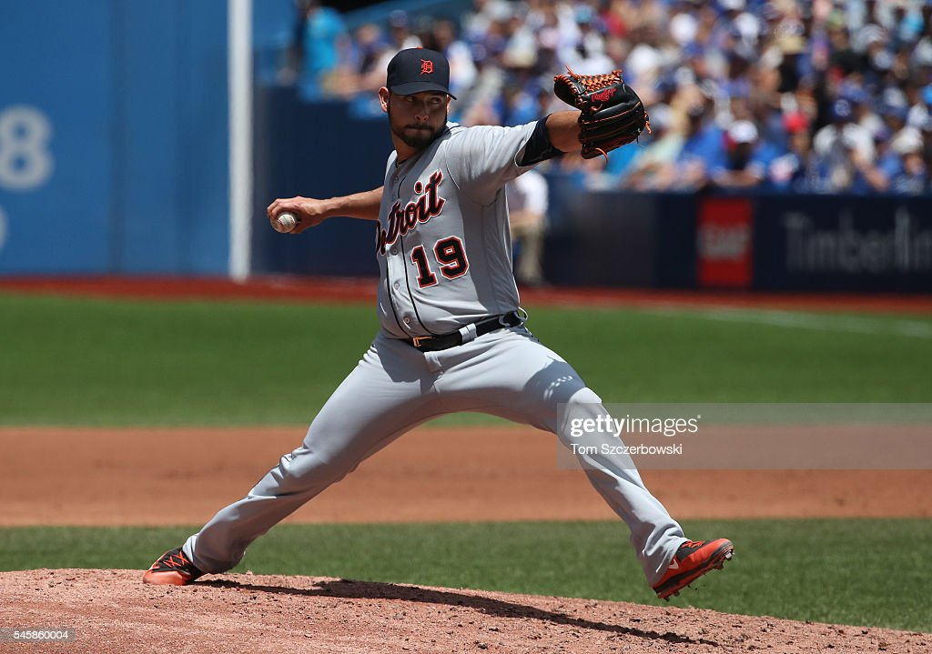 Anibal Sanchez of the Detroit Tigers delivers a pitch in the second inning during MLB game action against the Toronto Blue Jays on July 10 2016 at...