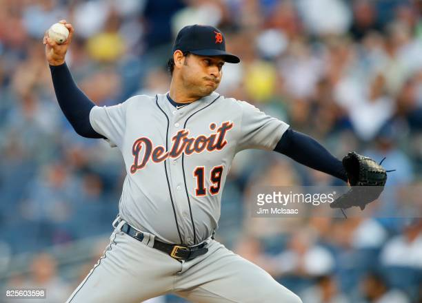 Anibal Sanchez of the Detroit Tigers in action against the New York Yankees at Yankee Stadium on August 1 2017 in the Bronx borough of New York City...