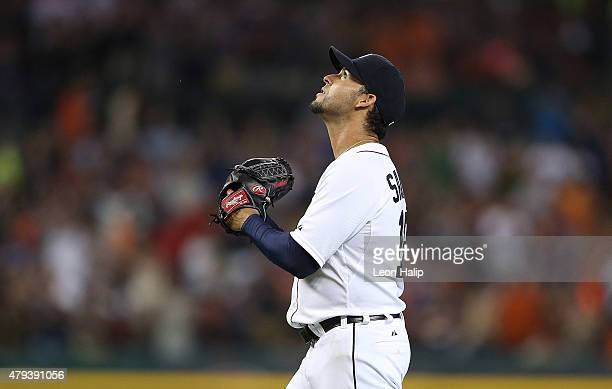 Anibal Sanchez of the Detroit Tigers looks up as he leaves the game in the eighth inning against the Toronto Blue Jays during the eighth inning on...