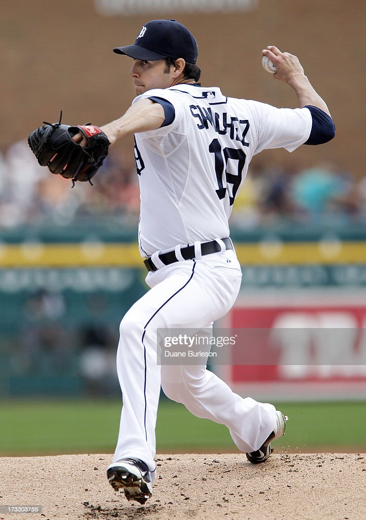 <a gi-track='captionPersonalityLinkClicked' href=/galleries/search?phrase=Anibal+Sanchez&family=editorial&specificpeople=748372 ng-click='$event.stopPropagation()'>Anibal Sanchez</a> #19 of the Detroit Tigers pitches against the Chicago White Sox in the first inning at Comerica Park on July 11, 2013 in Detroit, Michigan.