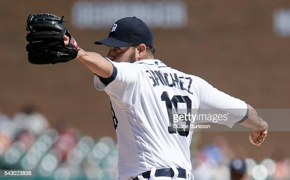 Anibal Sanchez of the Detroit Tigers pitches against the Cleveland Indians during the first inning at Comerica Park on June 25 2016 in Detroit...