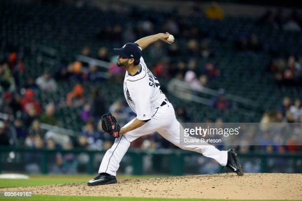 Anibal Sanchez of the Detroit Tigers pitches against the Cleveland Indians at Comerica Park on May 1 2017 in Detroit Michigan
