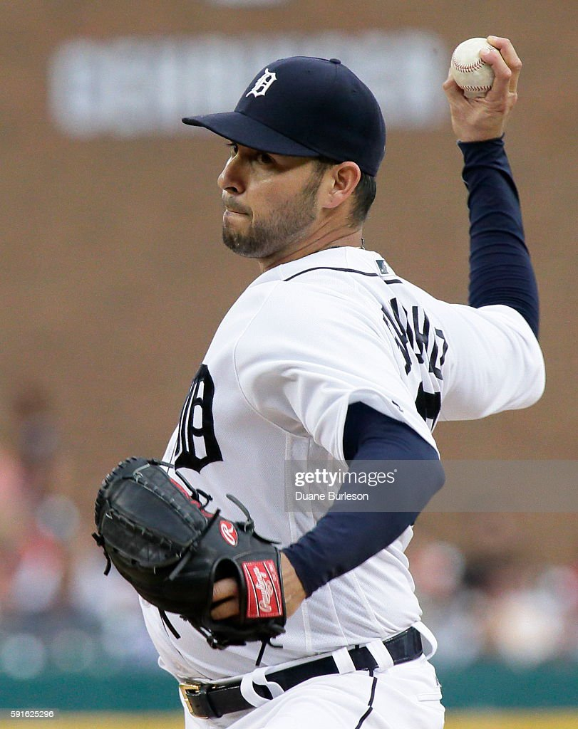 Anibal Sanchez of the Detroit Tigers pitches against the Kansas City Royals during the third inning at Comerica Park on August 17 2016 in Detroit...