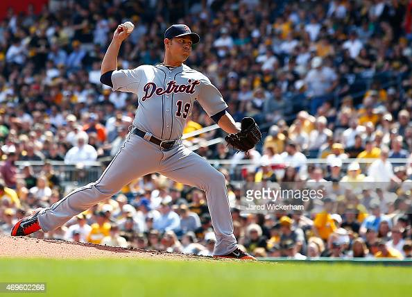 Anibal Sanchez of the Detroit Tigers pitches against the Pittsburgh Pirates during the Opening Day game at PNC Park on April 13 2015 in Pittsburgh...