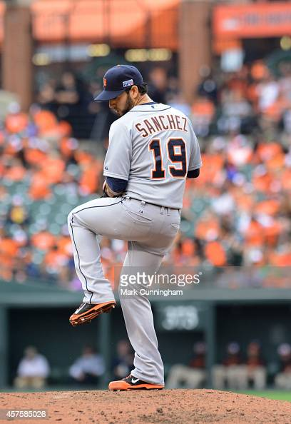 Anibal Sanchez of the Detroit Tigers pitches during Game Two of the American League Division Series against the Baltimore Orioles at Oriole Park at...