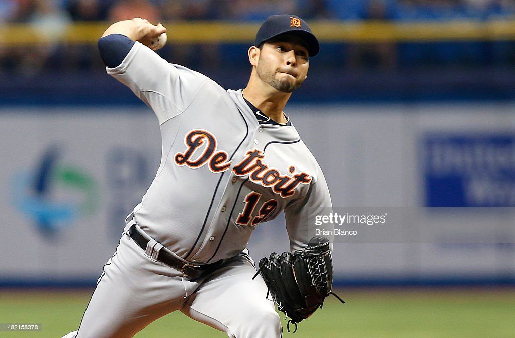 Anibal Sanchez of the Detroit Tigers pitches during the first inning of a game against the Tampa Bay Rays on July 27 2015 at Tropicana Field in St...