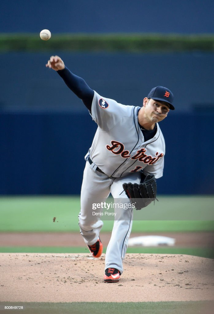 Anibal Sanchez #19 of the Detroit Tigers pitches during the first inning of a baseball game against the San Diego Padres at PETCO Park on June 24, 2017 in San Diego, California.