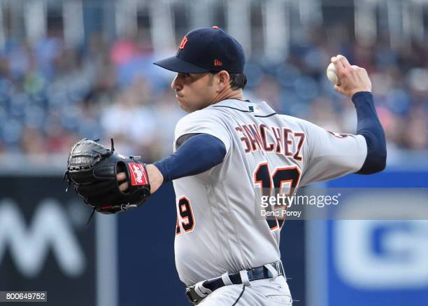 Anibal Sanchez of the Detroit Tigers pitches during the first inning of a baseball game against the San Diego Padres at PETCO Park on June 24 2017 in...