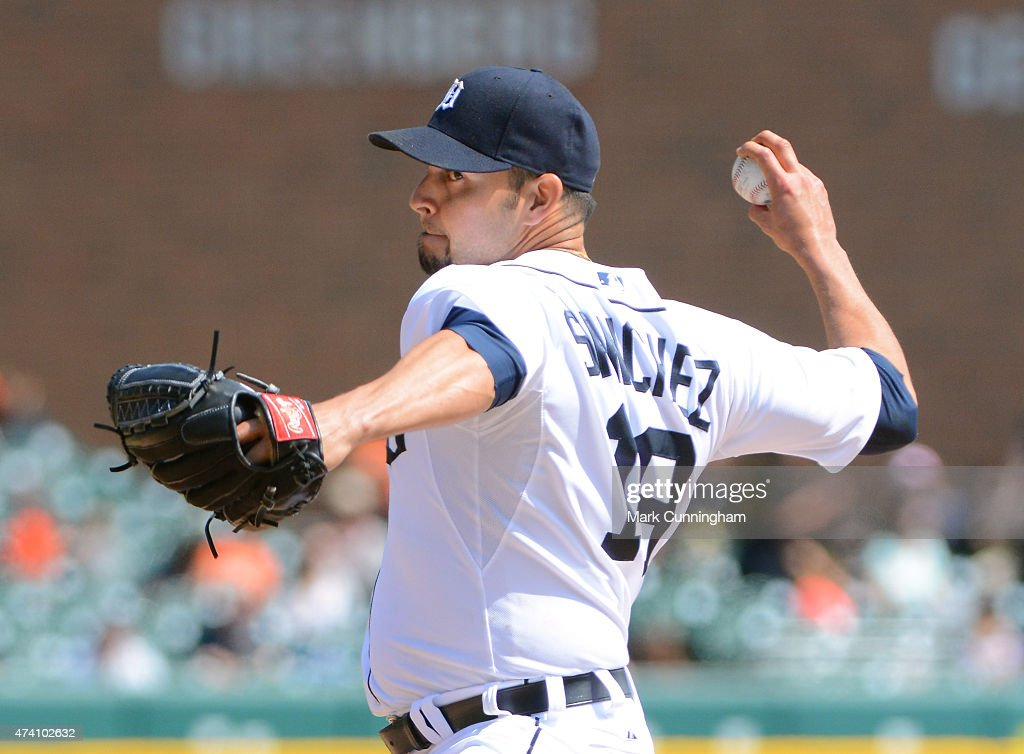Anibal Sanchez of the Detroit Tigers pitches during the game against the Minnesota Twins at Comerica Park on May 14 2015 in Detroit Michigan The...