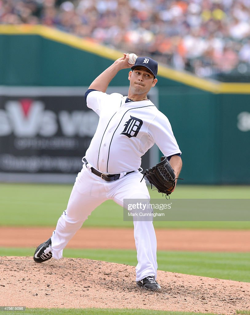 Anibal Sanchez of the Detroit Tigers pitches during the game against the Houston Astros at Comerica Park on May 24 2015 in Detroit Michigan The...