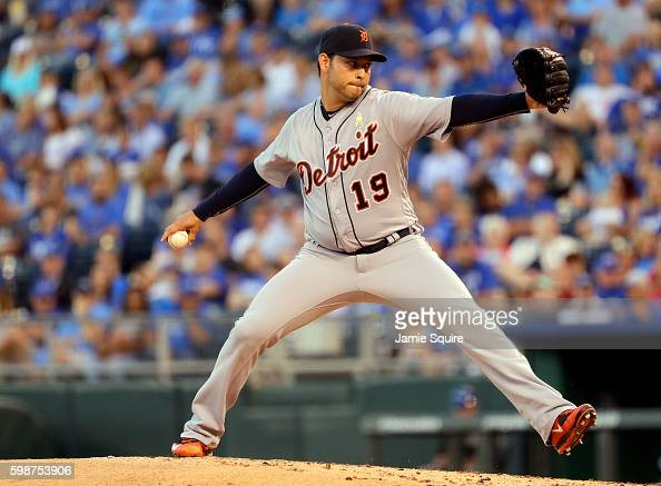 Anibal Sanchez of the Detroit Tigers pitches during the game against the Kansas City Royals at Kauffman Stadium on September 2 2016 in Kansas City...