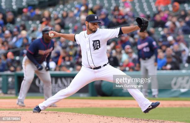Anibal Sanchez of the Detroit Tigers pitches during the game against the Minnesota Twins at Comerica Park on April 13 2017 in Detroit Michigan The...