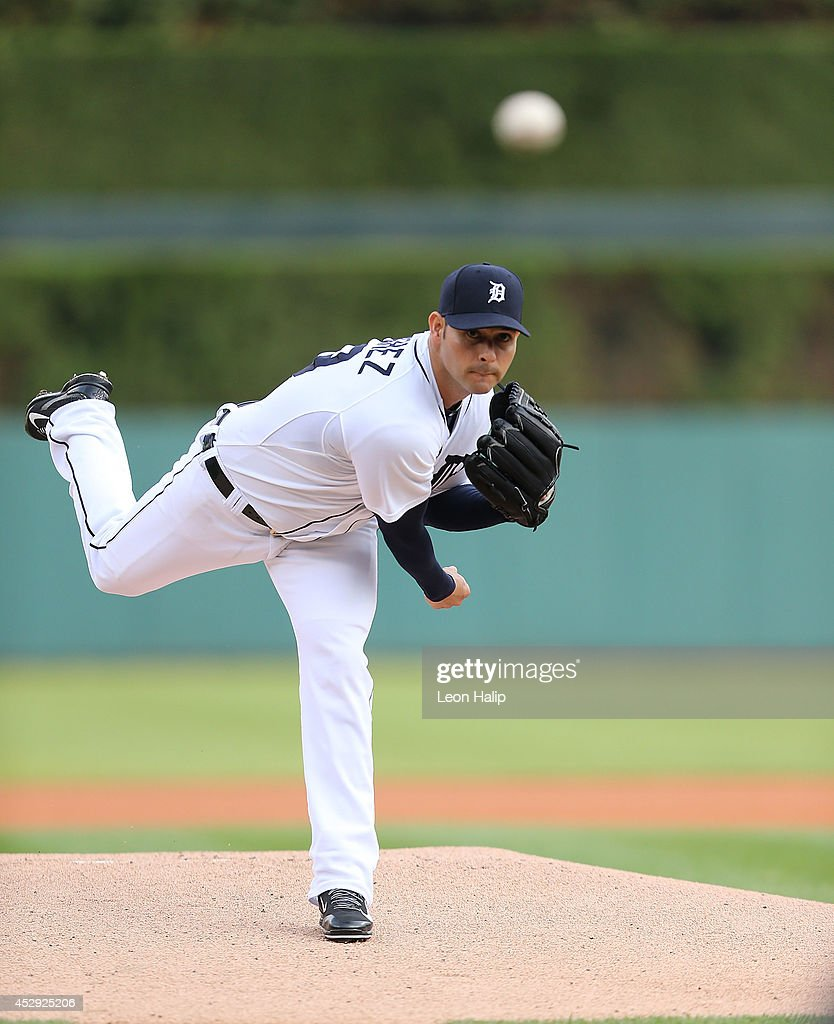 Anibal Sanchez of the Detroit Tigers pitches during the second inning of the game against the Chicago White Sox at Comerica Park on July 29 2014 in...