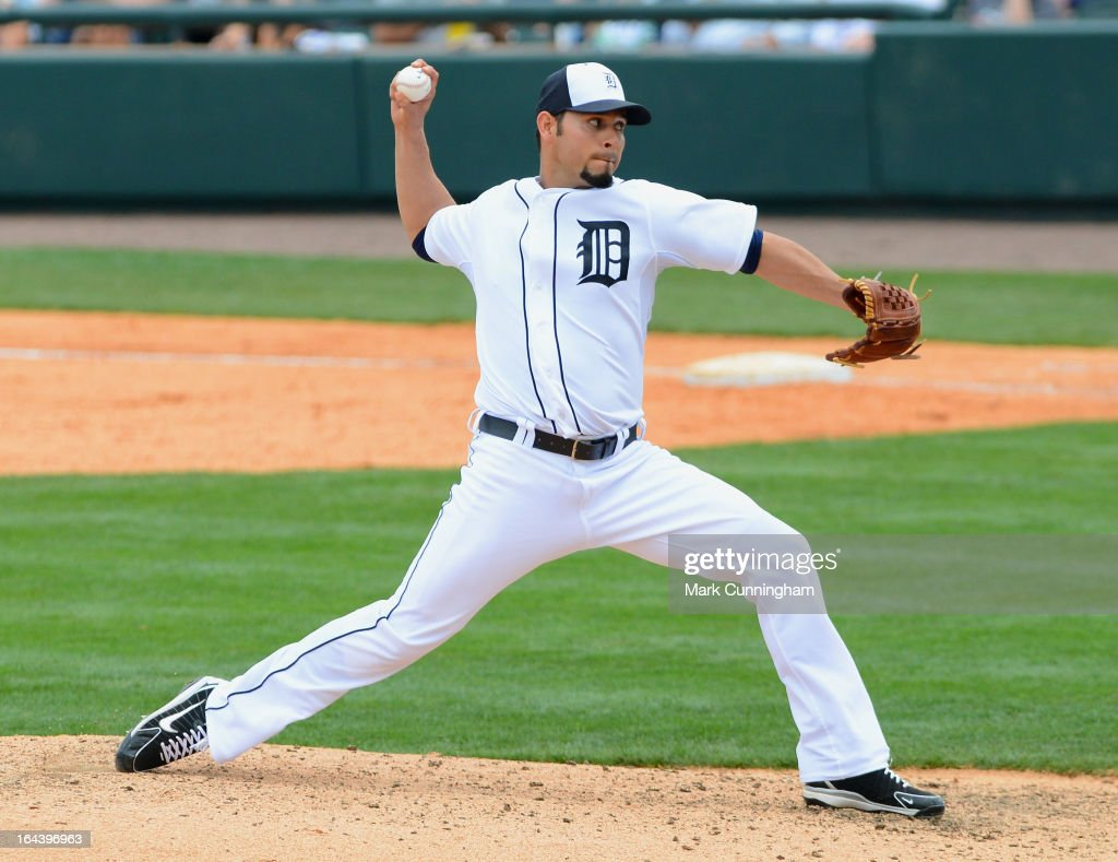 <a gi-track='captionPersonalityLinkClicked' href=/galleries/search?phrase=Anibal+Sanchez&family=editorial&specificpeople=748372 ng-click='$event.stopPropagation()'>Anibal Sanchez</a> #19 of the Detroit Tigers pitches during the spring training game against the New York Yankees at Joker Marchant Stadium on March 23, 2013 in Lakeland, Florida. The Tigers defeated the Yankees 10-6.