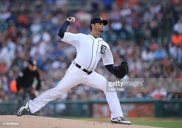 Anibal Sanchez of the Detroit Tigers pitches in the first inning of the game against the Toronto Blue Jays on July 3 2015 at Comerica Park in Detroit...