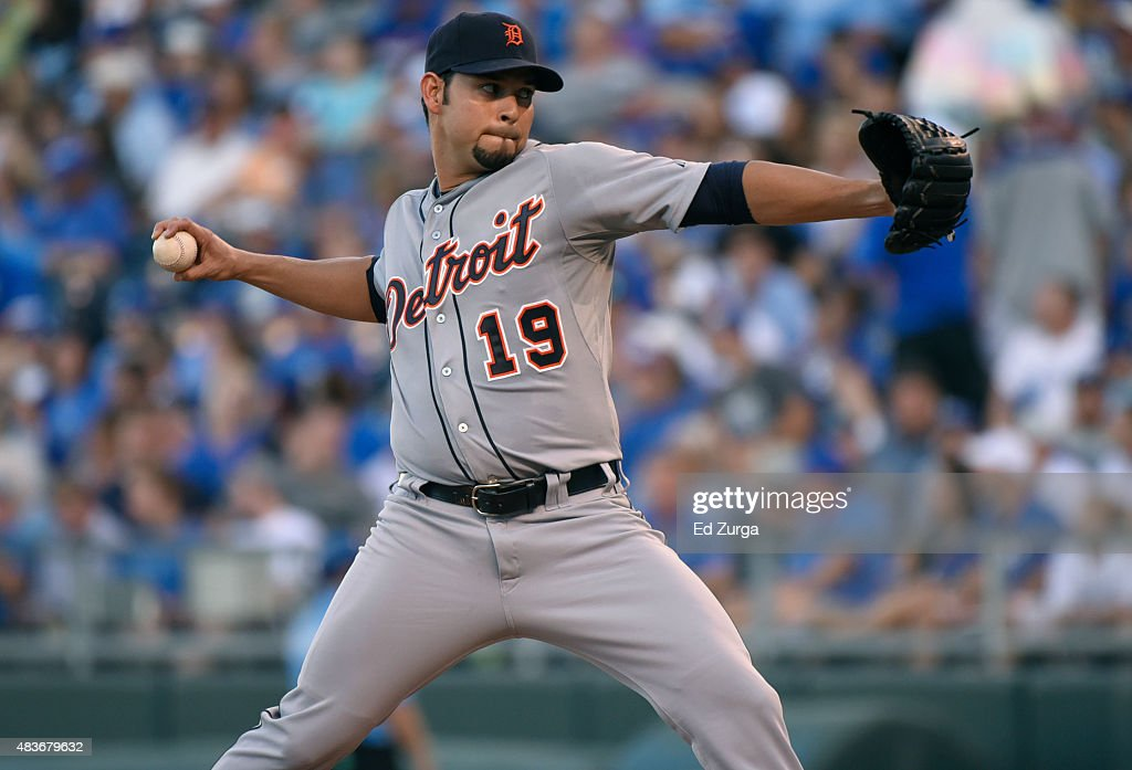 Anibal Sanchez of the Detroit Tigers pitches in the first inning against the Kansas City Royals at Kauffman Stadium on August 11 2015 in Kansas City...