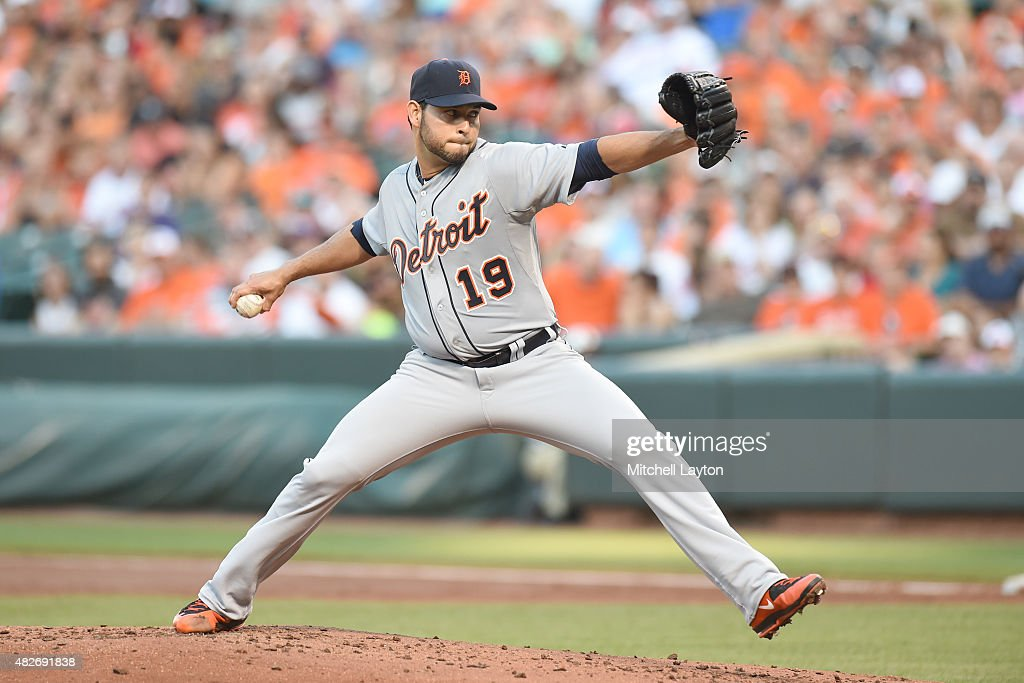 Anibal Sanchez of the Detroit Tigers pitches in the second inning during a baseball game against the Baltimore Orioles at Oriole Park at Camden Yards...