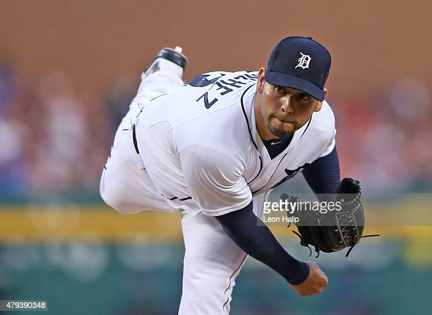 Anibal Sanchez of the Detroit Tigers pitches in the sixth inning during the game against the Toronto Blue Jays on July 3 2015 at Comerica Park in...